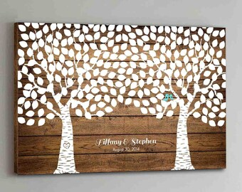 250 Guest CANVAS Wedding Guest Book Wood Two Double Tree Wedding Guestbook Canvas Alternative Guestbook Canvas Wedding Guestbk - Wood design