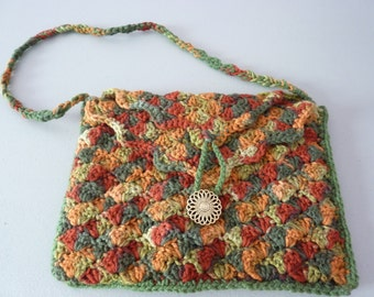 "Special Sale 10% Off - Autumn Mix Shell Stitch Crocheted Lined Purse, 12"" x 9"""