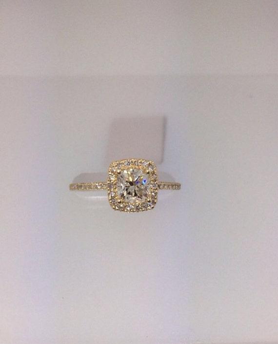 1 11 Total Carat Halo Cushion Cut Engagement Ring