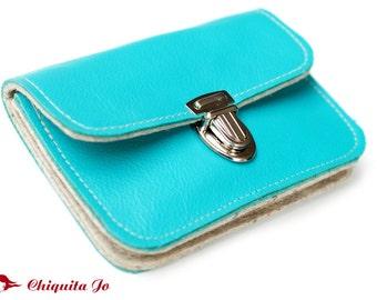 Wallet leather & Samira turquoise