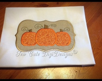 Primitive Fall Pumpkin Applique Design within a Elegant Border - Package of Four - Instant Download