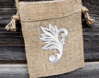 Natural Jute Shoulder Bag With silver application, Tote Bag, Small Bag, Eco Friendly Bag, Gift