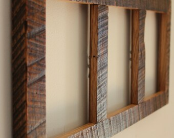 Reclaimed Barnwood Three-Part Picture Frame