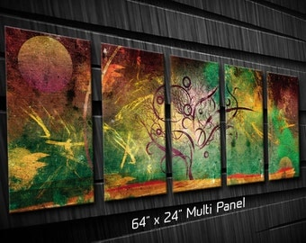 Multi Panel Metal Wall Art Tree Texture