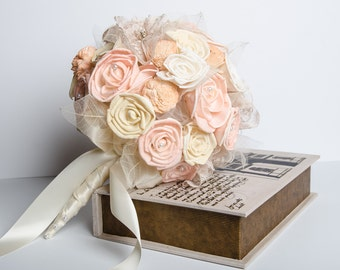 Sola Flower Vintage Bridal Bouquet, Peach lacy Bridal Bouquet, Romantic bouquet, Alternative bouquet, Sola flower bouquet, keep sake bouquet