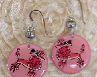 Pink Poodle Dog Earrings, 1950's earrings - on sterling silver earwires