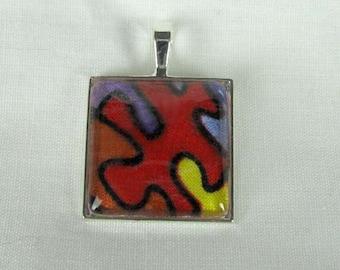 Pretty Glass Cabochon Pendant Puzzle Piece Autism Symbol