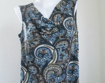 ON SALE!! Wardrobe Essential /  Stretchy Blouse with Cowl Neckline and Sleeveless.