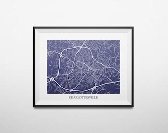 Charlottesville, Virginia University of Virginia Abstract Street Map Print