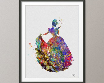 Cinderella Princess Watercolor Print Fairy Tale Archival Fine Art Print Children Wall Art Wedding Gift Home Decor Wall Hanging [NO 108]