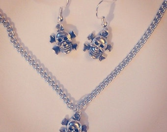 Little skull and crossbones necklace and earring set