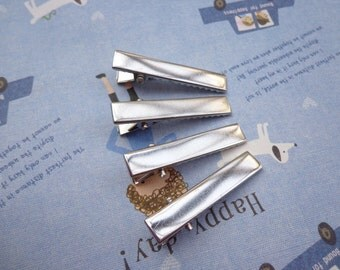 SALE--100 pcs Alligator Clip 35 mm Silver With Teeth Create Your Own Hair Accessories