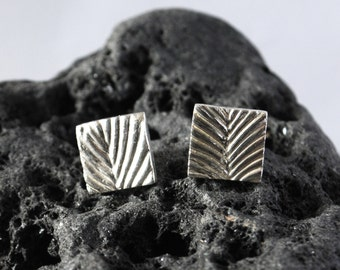 Square leaf texture fine silver stud earrings