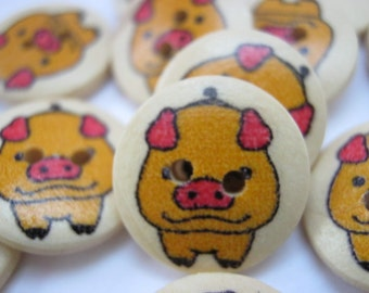 "10 Pig Buttons 15mm (5/8"" inch) Wood Cartoon Piggy Animal Buttons Sewing Knitting Childrens Clothing Buttons Accessories"