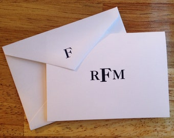 Letterpress Block Monogram Social Stationery, set of 25