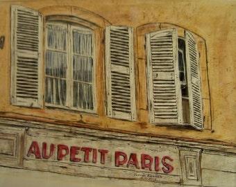 watercolor painting,shutters,paris scene,scenic and landscape,scene,european painting,painting of paris,paris cafe painting, art sale