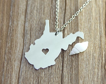 I heart  West Virginia Necklace - West Virginia  Map Pendant - State Necklace - State Charm - Map necklace - Map Jewelry