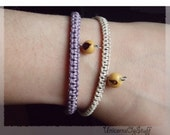 2 Friendship bracelets, Cream bracelet, purple bracelet, Braided bracelet