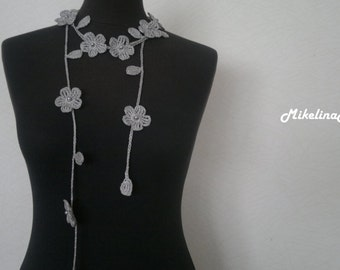 Crochet Necklace,Crochet Neck Accessory, Flower Necklace, Grey, 100% Cotton.