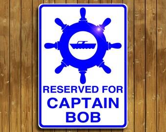 Personalized aluminum Captain sign