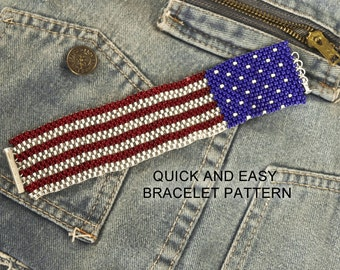 American Flag Peyote Stitch Bracelet Pattern - Make It In An Evening with Size 8/0 Seed Beads