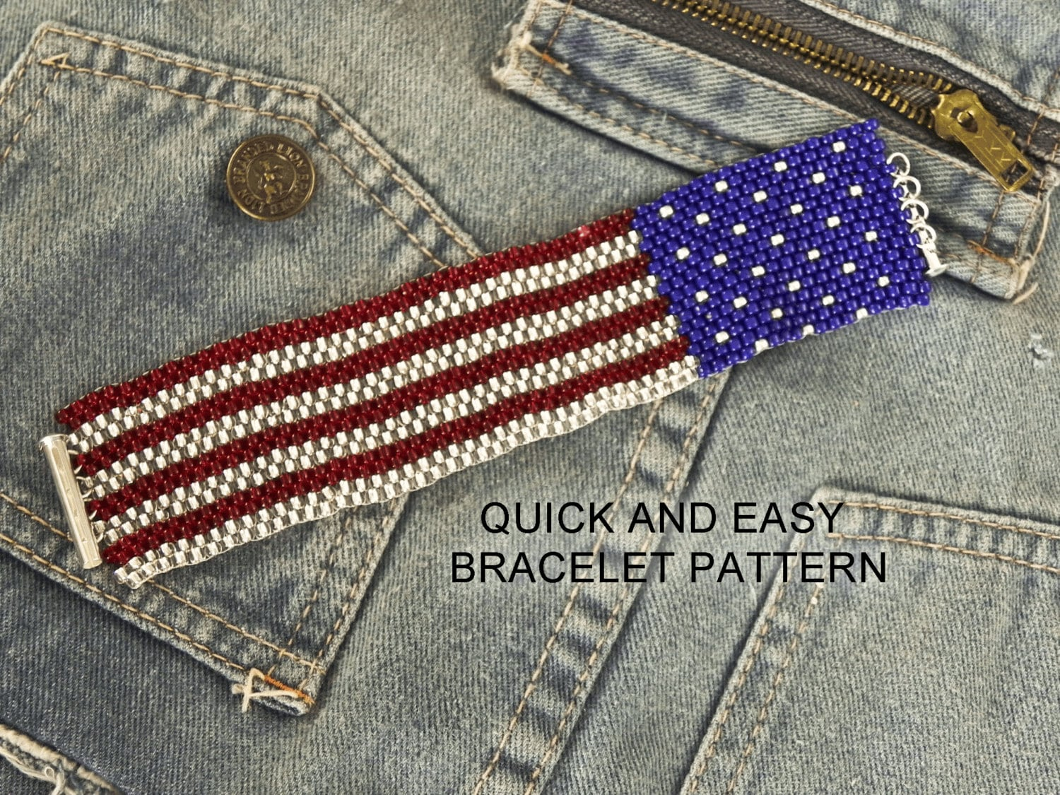 American flag peyote stitch bracelet pattern make it in an for Patriotic beaded jewelry patterns