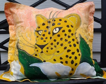 Hand Painted Pillow..Out-Of-Africa, Exotic..Fabric..Overstuffed Pillow Depicting the Head of a Leopard..Vibrant Colors with Removable Insert