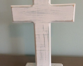 Rustic wood cross on stand, distressed white over Caribbean blue