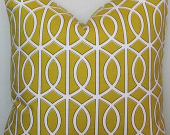 Citrine Decorative Pillow Cover with Scroll Design,