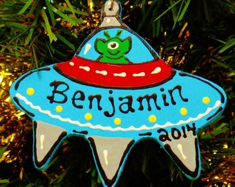 U Choose Name & Date Personalized FLYING SAUCER Christmas ORNAMENT Name Martian Outer Space Kids Children Handcrafted Handpainted