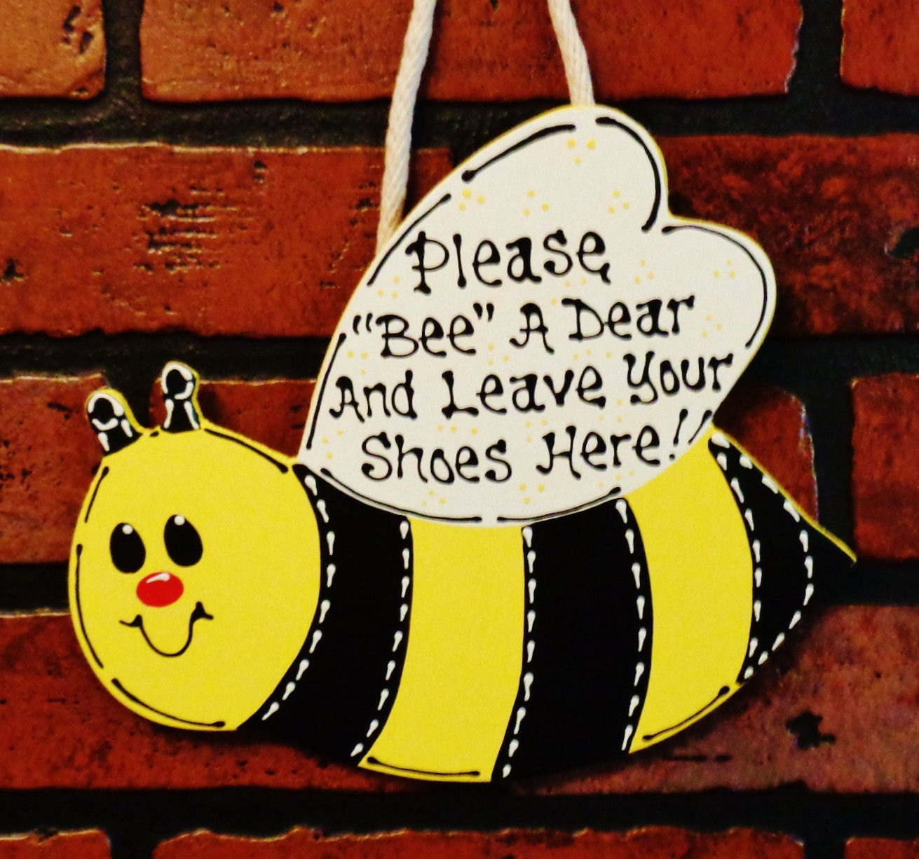 Bumblebee Leave Your Shoes Here Sign Remove Take Off Plaque