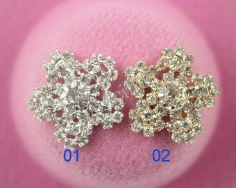 6 pcs Crystal Rhinestone Buttons For Embellishment,Hair Accessories