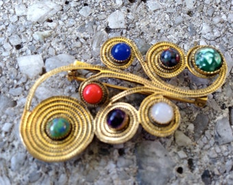 FREIRICH Brooch PIN Goldtone Metal and Semiprecious Stones Marked Vintage Custom Estate Jewelry