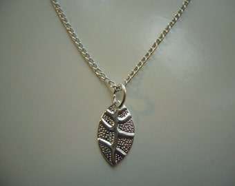 Leaf Necklace -  Silver Plated Leaf Necklace - Leaf Pendant Charm - Miniature Leaf- Nickel Free