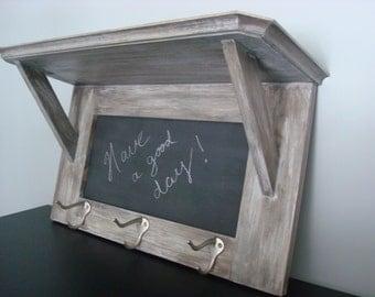 Distressed Grey Coat Rack Wall Shelf With Chalkboard Message Center Key  Holder Entryway Kitchen Organizer