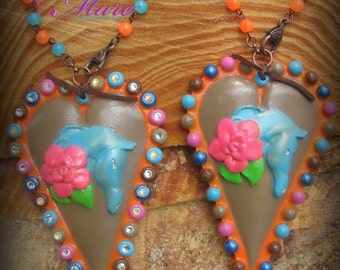 Topper's Spots In Sunset. PENDANT.Stunning Clay Jewelry that you'll wear again and again!  Pendant