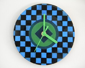 Hand Painted Vinyl Record Clock: Checked Pattern (Blue and Green)