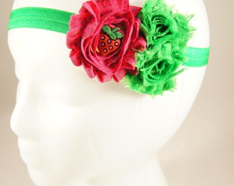 Pink and green strawberry headband