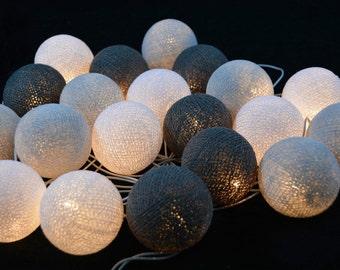 20 x White,White Smoke, Gray  cotton ball Bali string light wedding party display light decor room indoor outdoor
