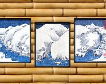 Japanese Art Snowy Mountains Asian Decor Set Of Three Prints (J139LMR)