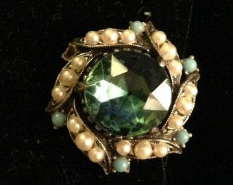 Vintage rhinestone clip on earrings, green/blue earrings