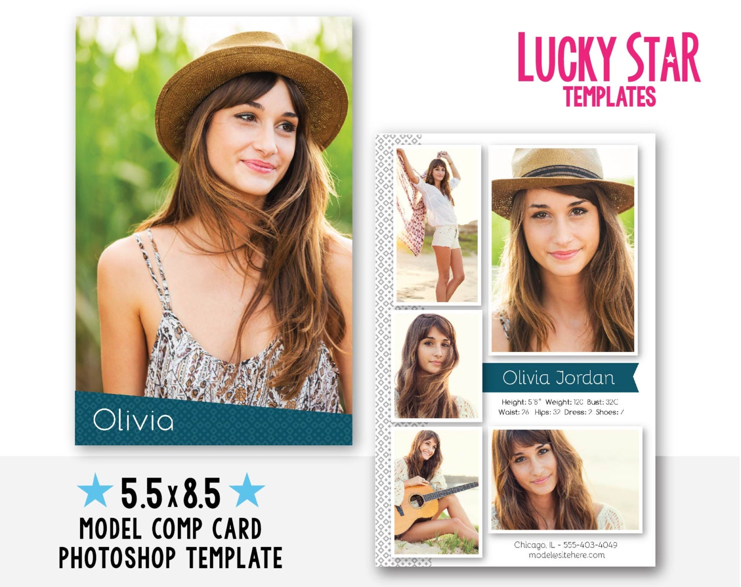 free comp card template - customizable model comp card fresh face instant download