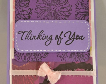 Handmade three dimensional 'Thinking of You' card for greeting, pink ribbon  with envelope.