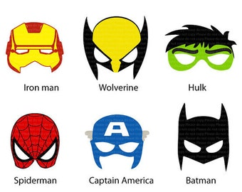 INSTANT DL 6 Superhero Mask Cut Out Birthday Party Printable Jpeg