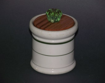 Vintage ceramic container (1930s) often referred to as restaurant ware,  with an oak lid and a light green glass knob.