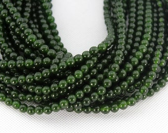 6mm Round Dark Green Jade Beads,One Full Strand,Jade Beads,Dark Green Beads,Gemstone Beads----about 64Pieces---15 inches--BJ018