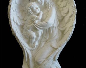 """ANGEL holding Child wall frieze sculpture statue 15"""" neo-mfg art"""