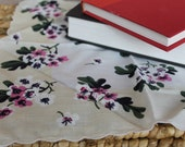 VINTAGE 1950's-60's Pink and White Flowered Handkerchief. Hanky. Gift For Her. Shabby Chic.