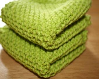 Green Knit Dish Cloth, Green Knit Dishcloth, Set of 2