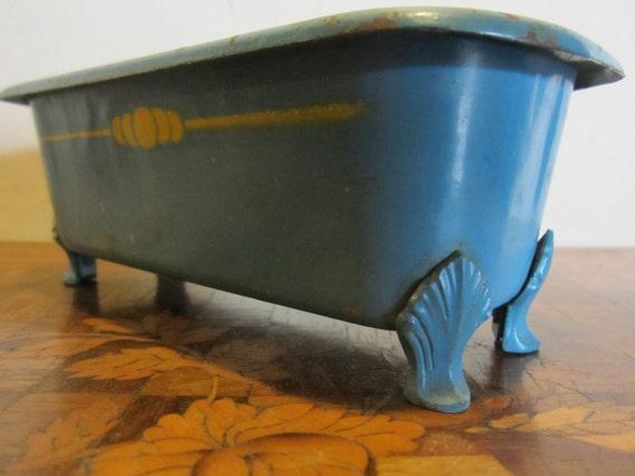 antica vasca da bagno in miniatura metallo bambola su piedi artiglio gioco per bambini